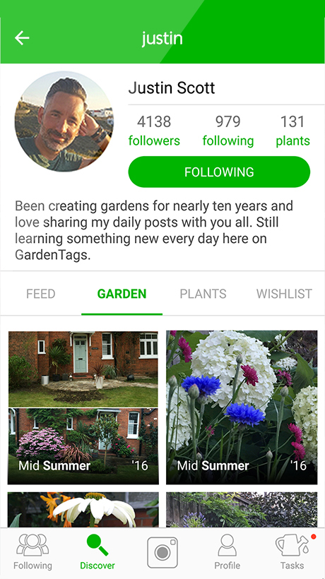 Iphone Image Gardening app profile